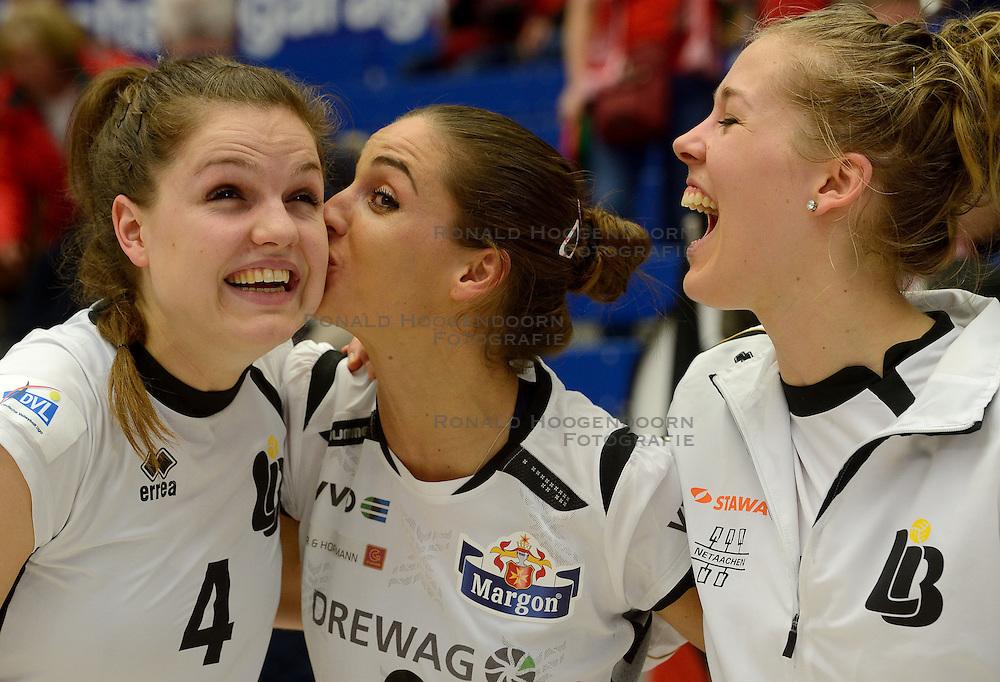 18-01-2014 Ger:  Dresdner SC - Ladies in black Aachen, Dresden<br /> <br /> Dresden verslaat Aachen vrij eenvoudig met 3-0 / Yvon Belien, Myrthe Schoot, Femke Stoltenborg