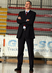 "Aleksandar Petrovic, brother of Yugoslavian basketball star Drazen Petrovic and ex player of Cibona, known as ""Aca Trica"", now as coach of Zadar at basketball match between Geoplin Slovan and Zadar in 22nd round of NLB league, on February 23, 2008, in arena Kodeljevo in Ljubljana, Slovenia. Win of Geoplin Slovan 78:73. (Photo by Vid Ponikvar / Sportal Images)"