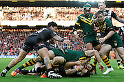 New Zealand's defence manage to hold-up Australia's Greg Inglis's effort during the Ladbrokes Four Nations match between Australia and New Zealand at Anfield, Liverpool, England on 20 November 2016. Photo by Craig Galloway.
