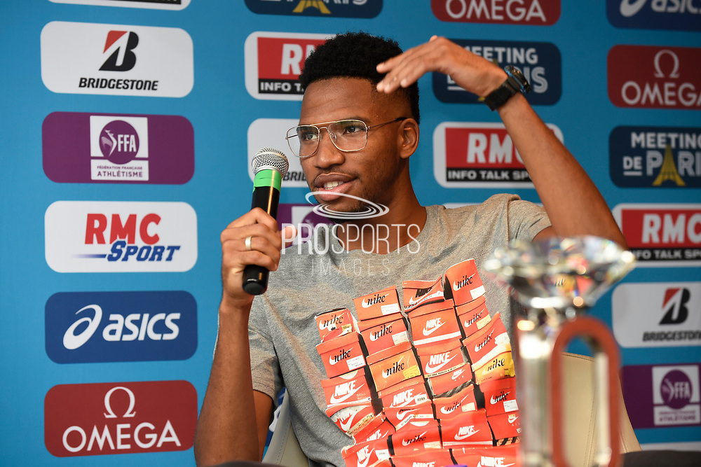 Abderrahman Samba (QAT) during press conference of Meeting de Paris 2018, Diamond League, at Hotel Marriott, in Paris, France, on June 29, 2018 - Photo Jean-Marie Hervio / KMSP / ProSportsImages / DPPI