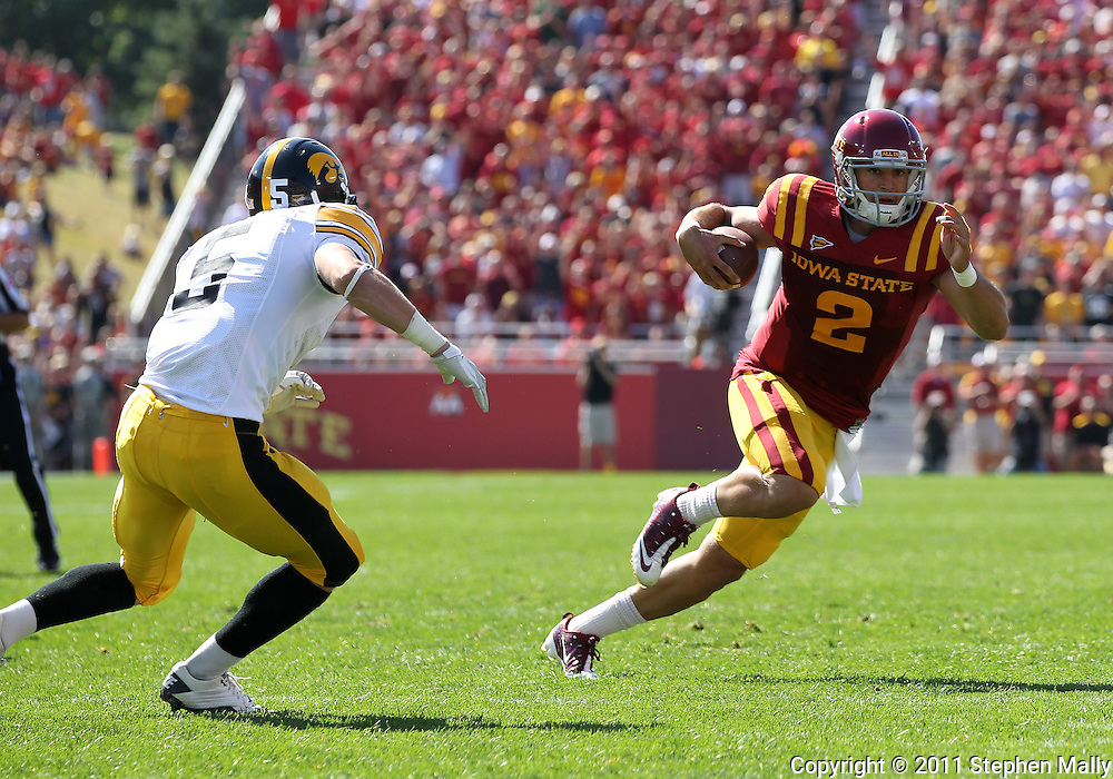 September 10, 2011: Iowa State Cyclones quarterback Steele Jantz (2) scrambles with the ball during the first half of the game between the Iowa Hawkeyes and the Iowa State Cyclones during the Iowa Corn Growers Cy-Hawk game at Jack Trice Stadium in Ames, Iowa on Saturday, September 10, 2011. Iowa State defeated Iowa 44-41 in 3OT.