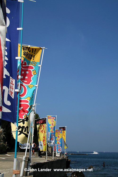 Japanese Banners advertising local seafood restaurants and purveyors of fish at Jogashima