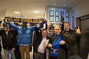 It's a YES, and AFC Wimbledon Commercial Director Ivor Hellor gets congratulated and cheered by the awaiting fans at the planning application meeting to redevelop the Plough Lane site into a new 20,000 all seater stadium for AFC Wimbledon at Merton Civic Centre, Morden, United Kingdom on 10 December 2015. Photo by Stuart Butcher. The joint application is lodged by Galliard Homes and AFC Wimbledon.