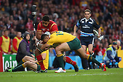 Wales Taulupe Faletau getting tackled by Australia's full back Israel Folau during the Rugby World CupPool A match between Australia and Wales at Twickenham, Richmond, United Kingdom on 10 October 2015. Photo by Matthew Redman.