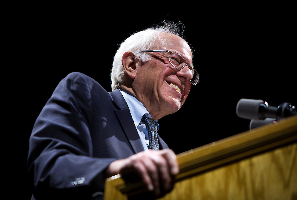 """U.S. Democratic Presidential candidate Senator Bernie Sanders (I-Vt.) smiles during the """"Future to Believe In"""" Rally at the Kohl Center in Madison, Wisconsin April 3, 2016."""