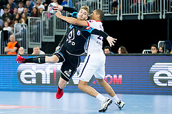 Domagoj Pavlovic #94 of PPD Zagreb and Daniel Narcisse #25 of Paris Sant-Germain during handball match between PPD Zagreb (CRO) and Paris Saint-Germain (FRA) in 11th Round of Group Phase of EHF Champions League 2015/16, on February 10, 2016 in Arena Zagreb, Zagreb, Croatia. Photo by Urban Urbanc / Sportida