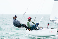 MIAMI - January 29, 2015.  Miamians, Mark and Carolina Mendelblatt, on the Nacra 17 course at the 2015 ISAF Sailing World Cup.