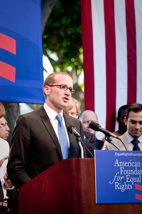 Chad Griffin of American Foundation for Equal Rights addresses the crowd during a rally after Prop. 8 was proved unconstitutional and overturned by Judge Walker.