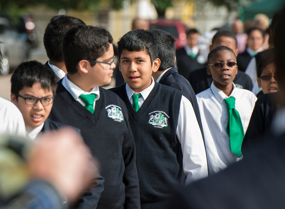 Students attend groundbreaking ceremonies for the Mickey Leland College Preparatory Academy, April 16, 2015.