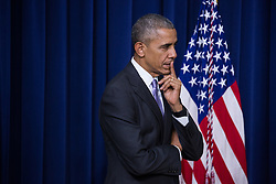 December 13, 2016 - Washington, DC, United States - President Barack Obama listens to VP Joe Biden speak, before signing his last act, the 21st Century Cures Act, in the South Court Auditorium of the Eisenhower Executive Office Building of the White House in Washington, DC. on December 13, 2016. The legislation eases the development and approval of experimental treatments and reforms federal policy on mental health care. (Credit Image: © Cheriss May/NurPhoto via ZUMA Press)