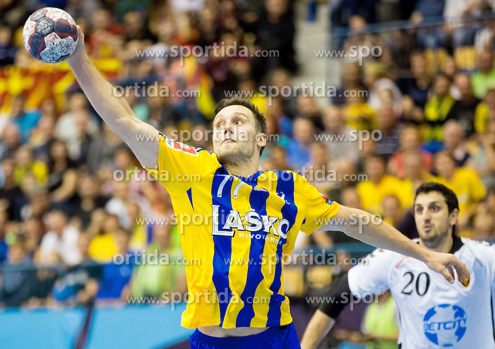 Luka Zvizej of Celje PL during handball match between RK Celje Pivovarna Lasko and HC Vardar Skopje (MKD) in 1st Round of Group C of EHF Champions League 2014/15, on September 27, 2014 in Arena Zlatorog, Celje, Slovenia. Photo by Vid Ponikvar / Sportida.com