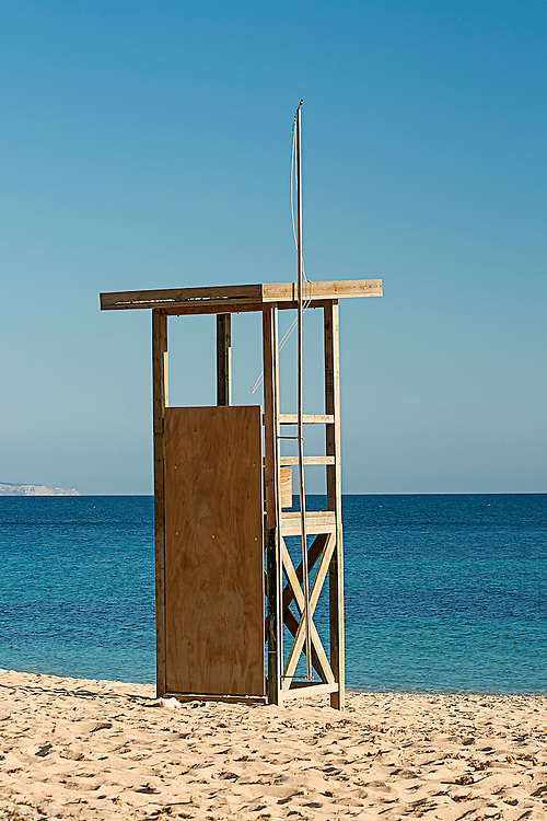 A lifegaurd chair on a beach in Mallorca, Spain