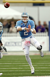North Carolina quarterback Bryn Renner (2) throws in the first quarter of their Independence Bowl college football game against Missouri in Shreveport, La., Monday, Dec. 26, 2011.