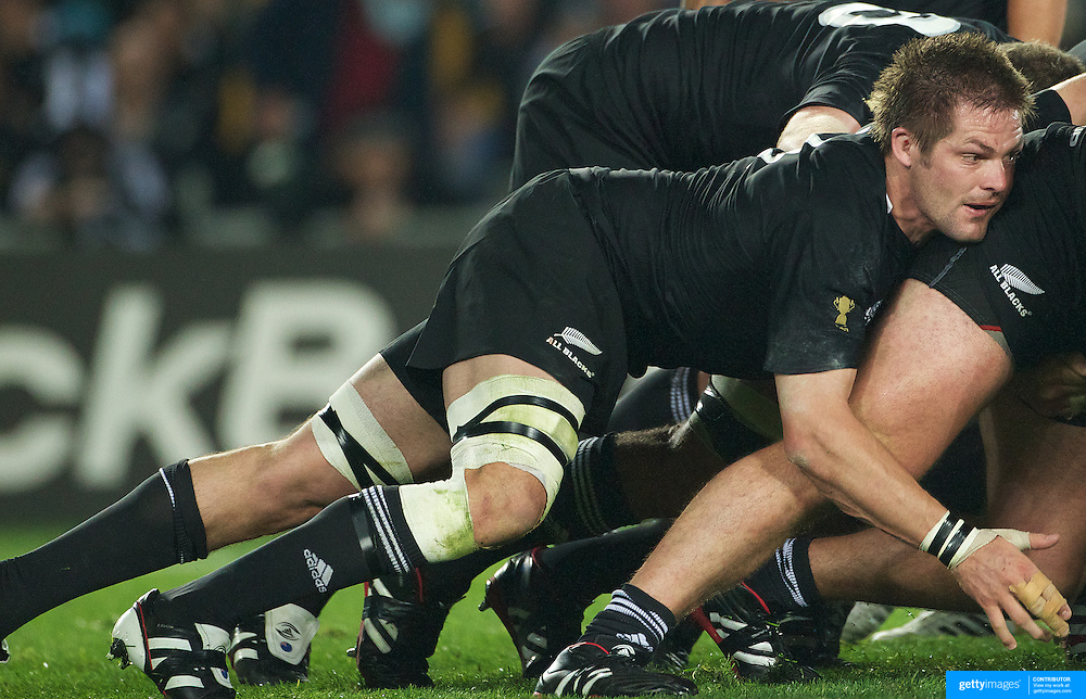 All Blacks captain Richie McCaw in the scrum during the New Zealand V Australia Semi Final match at the IRB Rugby World Cup tournament, Eden Park, Auckland, New Zealand, 16th October 2011. Photo Tim Clayton...