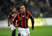 AC Milan's Ronaldinho celebrates after scoring during his UEFA Cup first round, second leg football match against FC Zurich on October 2, 2008 in Zurich.
