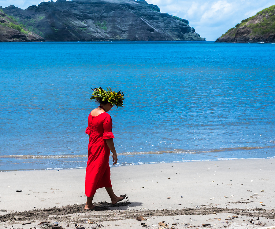 Nuku Hiva, French Polynesia -- March 23, 2018. Native tour guide walks on a beach in Nuku Hiva. Editorial Use Only.