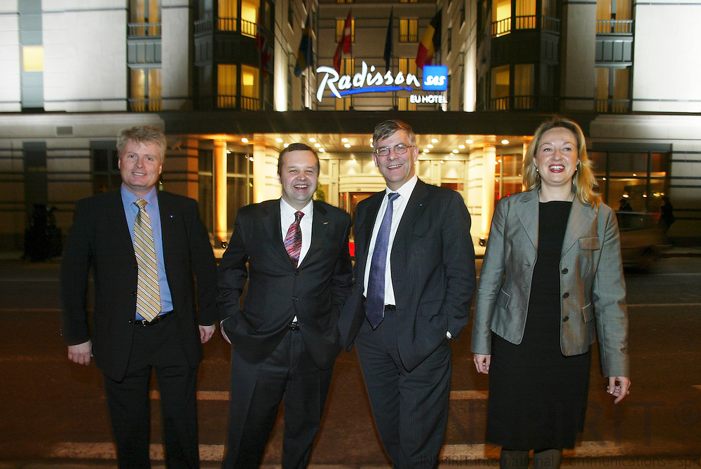 BRUSSELS - BELGIUM - 12 JANUARY 2006 --  Opening of Radisson SAS EU-Hotel. from left Paul KRISTENSEN, General Manager for Belgium and Luxembourg, Nicolas MEYLAN, General Manager for Radisson SAS EU-Hotel, Jørgen (Jorgen, Joergen) LINDEGAARD, President and CEO of the SAS group and Charlotte ANDSAGER, Vice-President European and Public Affairs.  PHOTO: ERIK LUNTANG /