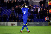 AFC Wimbledon striker Tom Elliott (9) going off after getting subbed during the EFL Sky Bet League 1 match between AFC Wimbledon and Rochdale at the Cherry Red Records Stadium, Kingston, England on 28 March 2017. Photo by Matthew Redman.