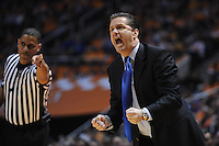Jan 14, 2012; Knoxville, TN, USA; Kentucky Wildcats head coach John Calipari shouts to his team during the first half at Thompson Boling Arena. Mandatory Credit: Randy Sartin-US PRESSWIRE
