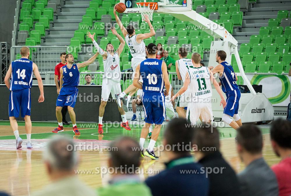 Sava Lesic #15 of KK Union Olimpija during basketball match between KK Union Olimpija Ljubljana and KK Sutjeska Niksic in Round #3 of ABA League 2015/16, on October 7, 2015 in Arena Stozice, Ljubljana, Slovenia. Photo by Vid Ponikvar / Sportida