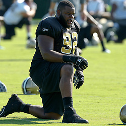 July 31, 2011; Metairie, LA, USA; New Orleans Saints defensive tackle Shaun Rogers during training camp practice at the New Orleans Saints practice facility. Mandatory Credit: Derick E. Hingle