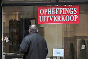 Nederland, Nijmegen, 21-2-2012Een winkel in de binnenstad houdt opheffingsuitverkoop.Foto: Flip Franssen/Hollandse Hoogte