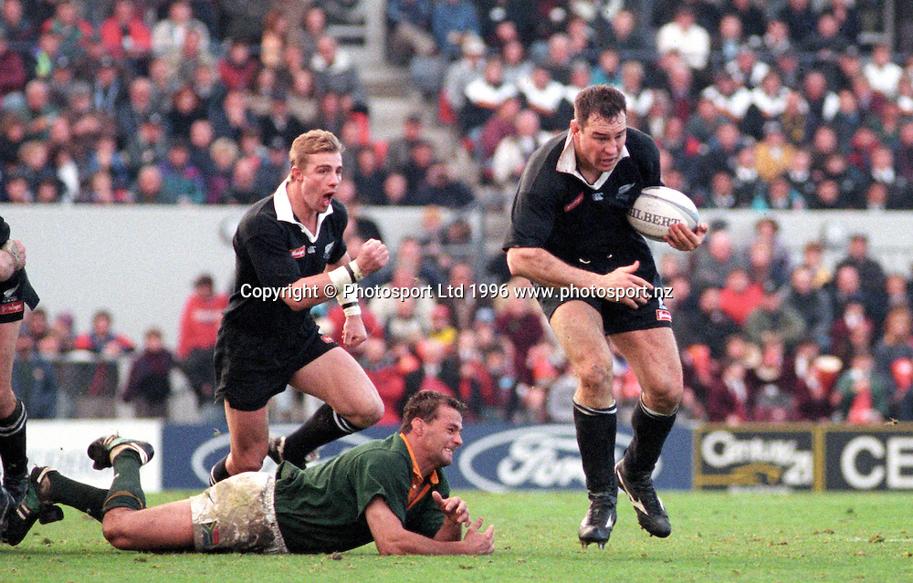 All Blacks lock Robin Brooke performs the haka prior to the start of the international rugby test between New Zealand and South Africa at Lancaster Park, Christchurch, on July 20 1996. The All Blacks won the match 15-11. Photo: PHOTOSPORT<br />