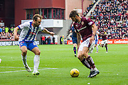 Hearts FC Forward Juanma Dalgado attacks during the Ladbrokes Scottish Premiership match between Heart of Midlothian and Kilmarnock at Tynecastle Stadium, Gorgie, Scotland on 3 October 2015. Photo by Craig McAllister.