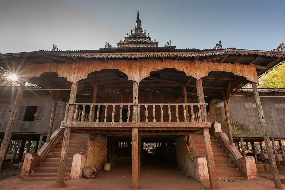 Teak Buddhist monastery around Kalaw (Myanmar)