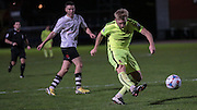 Louis Almond (Southport) takes a shot  during the Vanarama National League match between Gateshead and Southport at Gateshead International Stadium, Gateshead, United Kingdom on 8 December 2015. Photo by Mark P Doherty.