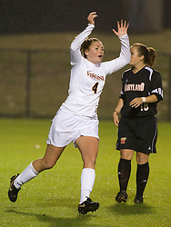 Virginia Cavaliers M Jen Redmond (4)..The #3 ranked Virginia Cavaliers Women's Soccer team faced the Maryland Terrapins at Klockner Stadium in Charlottesville, VA on October 25, 2007.