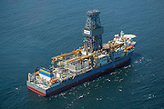 Ultra-deepwater drilling ship Pacific Khamsin arriving in Port in Cape Town