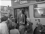 15/05/1982<br /> 05/15/1982<br /> 15 May 1982<br /> An Taoiseach, Mr Charles Haughey, canvasing with Fianna Fail bye-election candidate Eileen Lemass in Dublin West. Picture shows An Taoiseach on the steps of the Ballyfermot bus with comedian Brendan Grace and Eileen Lemass.