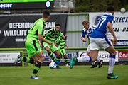 Forest Green Rovers Kaiyne Woolery(14) on the ball during the Vanarama National League match between Forest Green Rovers and Chester FC at the New Lawn, Forest Green, United Kingdom on 14 April 2017. Photo by Shane Healey.