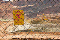 UMTRA Project site along the Colorado River near Moab Utah. Radioactive uranium tailings are being dug up and moved to another site to avoid leaching into the Colorado River.