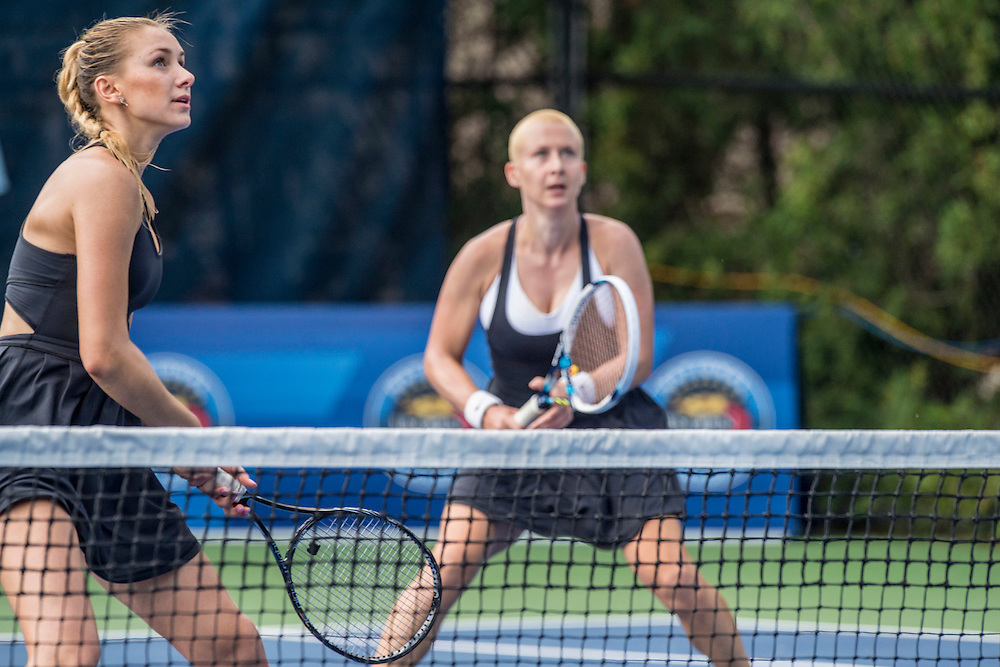August 20, 2016, New Haven, Connecticut: <br /> Kseniia Bardabush and Aleksandra Malyarchikova in action during a US Open National Playoffs match at the 2016 Connecticut Open at the Yale University Tennis Center on Saturday, August  20, 2016 in New Haven, Connecticut. <br /> (Photo by Billie Weiss/Connecticut Open)