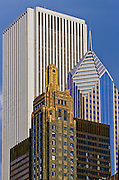 Compressed view of office buildings in downtown Chicago, Illinois