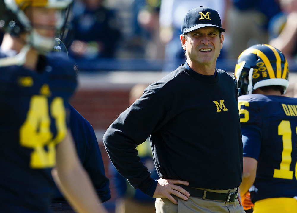 Oct 10, 2015; Ann Arbor, MI, USA; Michigan Wolverines head coach Jim Harbaugh prior to the game against the Northwestern Wildcats at Michigan Stadium. Mandatory Credit: Rick Osentoski-USA TODAY Sports