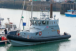 ©Licensed to London News Pictures 11/08/2020             Dover, UK. Border Force patrol vessel speedwell at Dover Marina in, Kent. Border Force Coastal patrol have had another busy day today in the English Channel rescuing migrants trying to cross from France. Photo credit: Grant Falvey/LNP