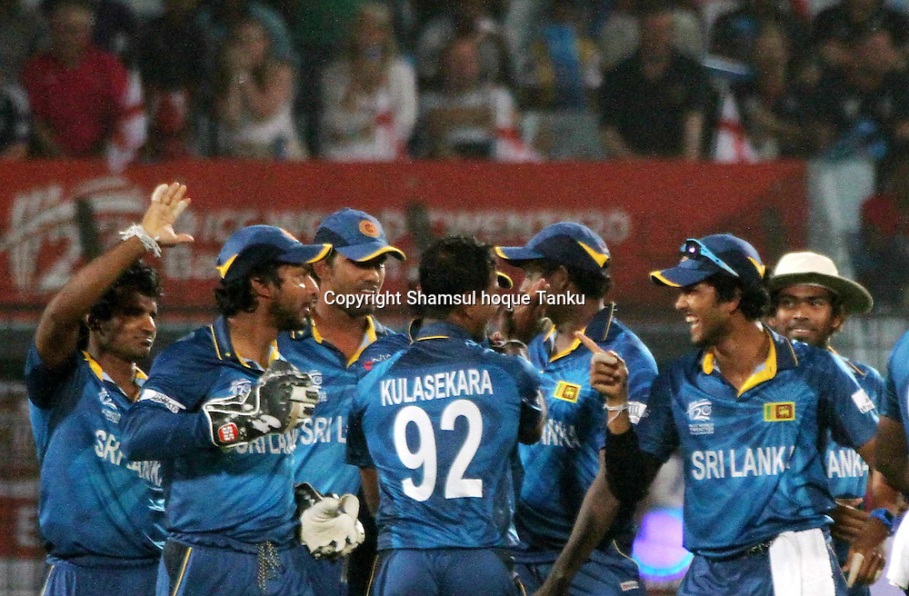 Nuwan Kulasekara celebrates with team - England v Sri Lanka - ICC World Twenty20, Bangladesh 2014. 28 March 2014, Zahur Ahmed Chowdhury Stadium, Chittagong. Photo: Shamsul hoque Tanku/www.photosport.co.nz