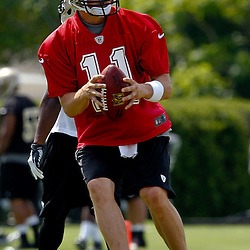 June 5, 2012; Metairie, LA, USA; Quarterback Luke McCown (11) participates with the New Orleans Saints on a tryout basis during a minicamp session at the team's practice facility. Mandatory Credit: Derick E. Hingle-US PRESSWIRE