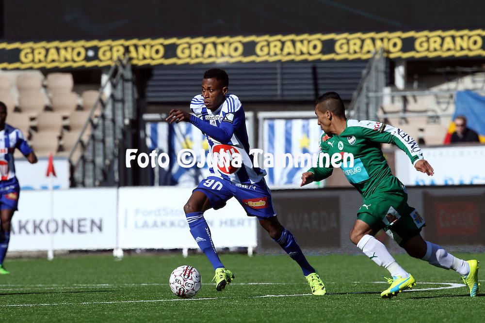 2.4.2016, Sonera Stadion, Helsinki.<br /> Veikkausliiga 2016.<br /> Helsingin Jalkapalloklubi - IFK Mariehamn.<br /> Nnamdi Oduamadi &quot;Odu&quot; - HJK