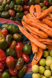 Peppers displayed in market, Cuzco, Peru, South America