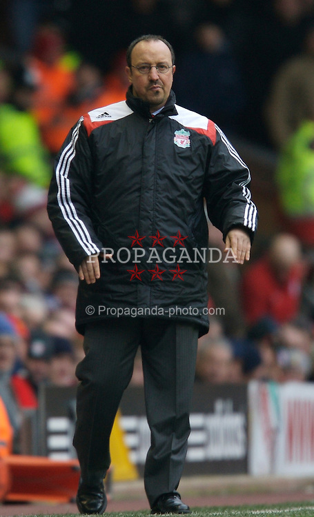 LIVERPOOL, ENGLAND - Sunday, December 16, 2007: Liverpool's manager Rafael Benitez during the Premiership match against Manchester United at Anfield. (Photo by David Rawcliffe/Propaganda)