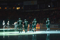 KELOWNA, CANADA - JANUARY 24: The Everett Silvertips line up against the Kelowna Rockets on January 24, 2015 at Prospera Place in Kelowna, British Columbia, Canada.  (Photo by Marissa Baecker/Shoot the Breeze)  *** Local Caption ***