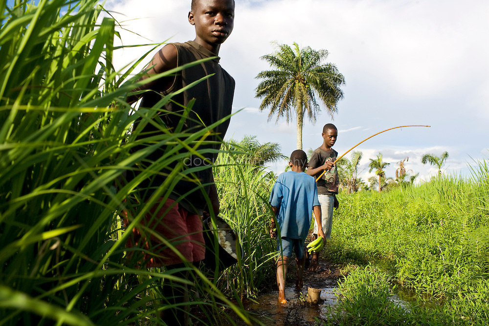 Children fishing and looking after the rice fields, Kingsville #7, Liberia.