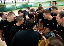 Jaka Klobucar, Jaka Lakovic, Miha Zupan, Miro Alilovic, Gasper Vidmar, Sandi Cebular, Hasan Rizvic and Samo Udrih at practice session of Slovenia basketball team on media day on July 16, 2010 at Rogla sports center, Slovenia. (Photo by Vid Ponikvar / Sportida)
