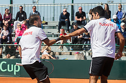 Anil Yuksel and Cem Ilkel of Turkey playing doubles during Davis Cup 2018 Europe/Africa zone Group II between Slovenia and Turkey, on April 8, 2018 in Portoroz / Portorose, Slovenia. Photo by Vid Ponikvar / Sportida