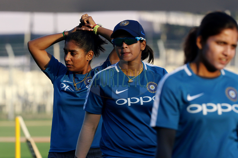 Mithali Raj captain of India before the start of the first women's one day International ( ODI ) match between India and Australia held at the Reliance Cricket Stadium in Vadodara, India on the 12th March 2018<br /> <br /> Photo by Vipin Pawar / BCCI / SPORTZPICS