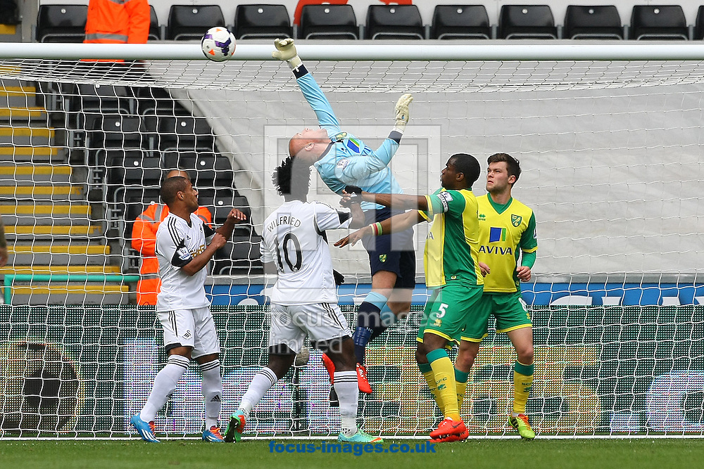 John Ruddy of Norwich misjudges a cross during the Barclays Premier League match at the Liberty Stadium, Swansea<br /> Picture by Paul Chesterton/Focus Images Ltd +44 7904 640267<br /> 29/03/2014